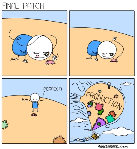 A webcomic describing the chaos of patching software, using a hot air balloon full of leaky patches as a metaphor.