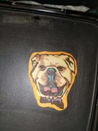 BullDog with Bow Tie Pancake Art