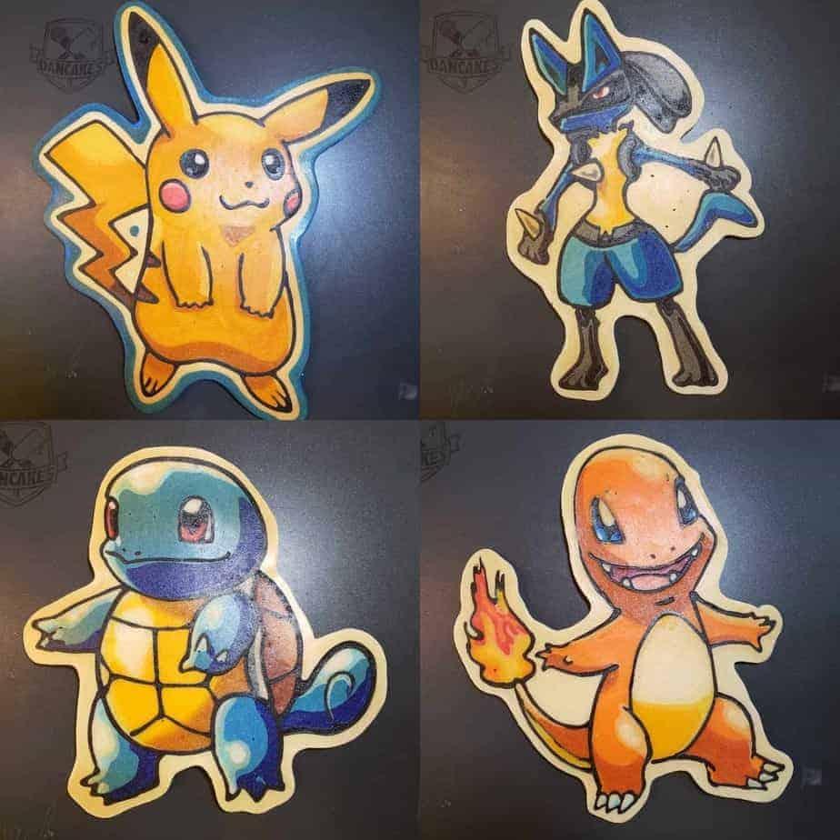 Pokemon - Charmander/Pikachu/Squirtle/Lucario Pancake Art