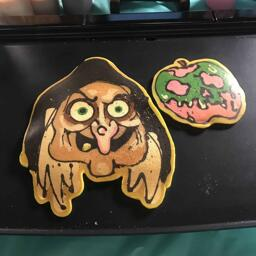 Witch and Poison Apple Pancake Art