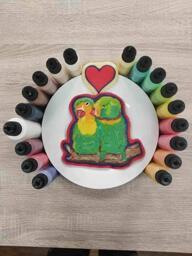 Love Birds Snuggling Pancake Art