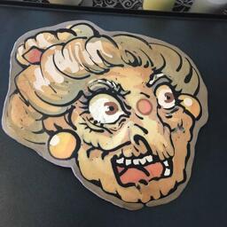 Surprised Old Lady Pancake Art