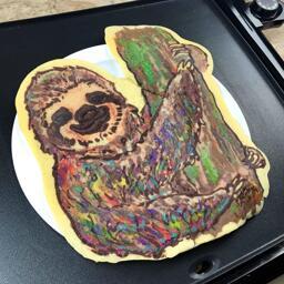 Rainbow Sloth Pancake Art