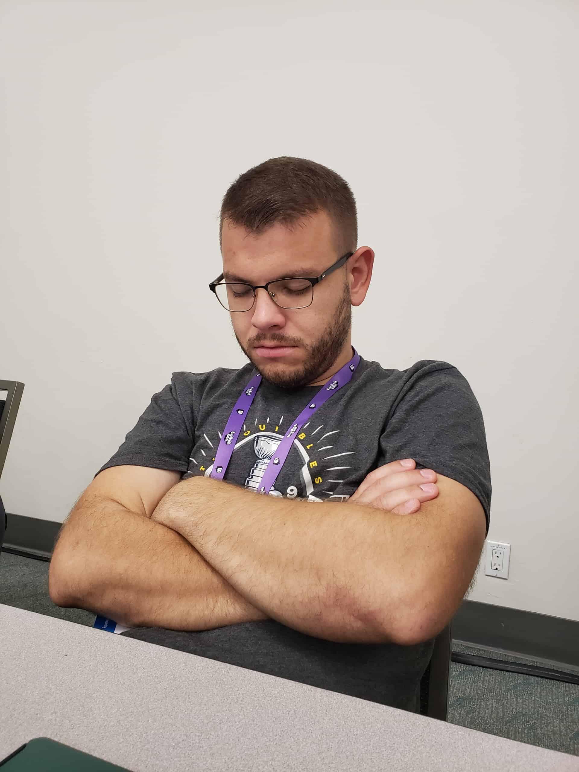 Hank Sleeping at TwitchCon
