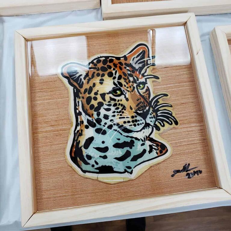 Leopard Pancake Art Preserved and Framed