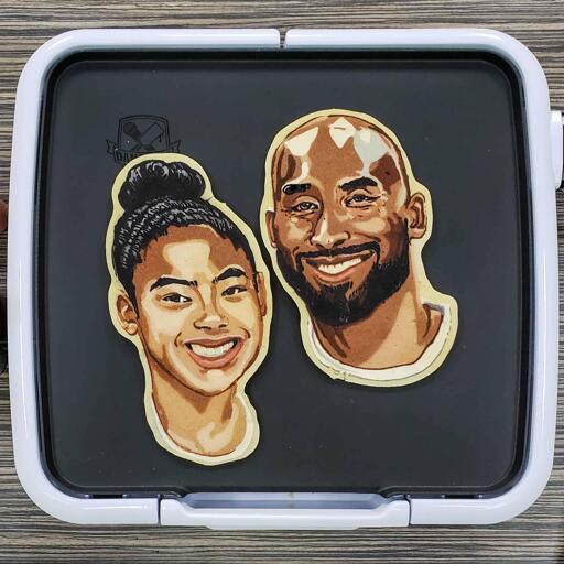Kobe and Gianna Bryant Pancake Art in Memoriam