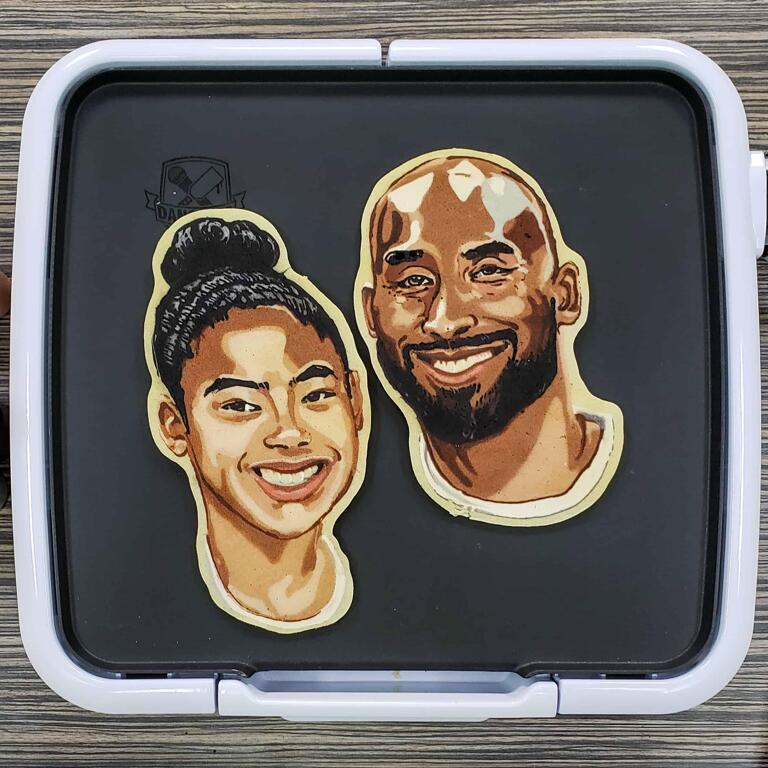 Kobe and Gianna Bryant Pancake Art in Memoriam