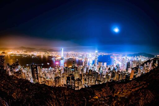 long exposure of Hong Kong at night