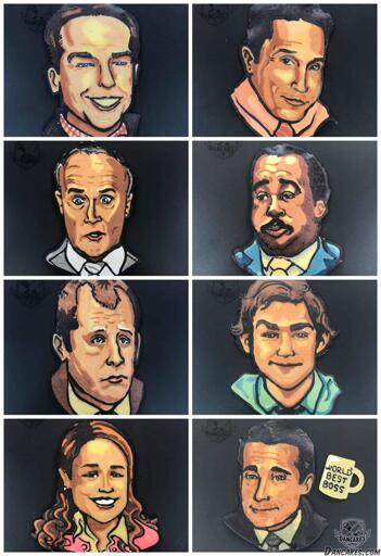 Andy, Oscar, Creed, Stanley, Toby, Jim, Pam, and Michael from NBC's The Office as Pancake Art
