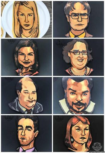 Angela, Dwight, Kelly, Meredith, Kevin, Darryl, Ryan, and Meredith from NBC's The Office as Pancake Art