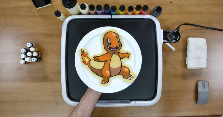 Charmander Pancake Art final step: Plate your Charmander pancake, and enjoy! Great work, everyone - you'll be the very best in no time at all!