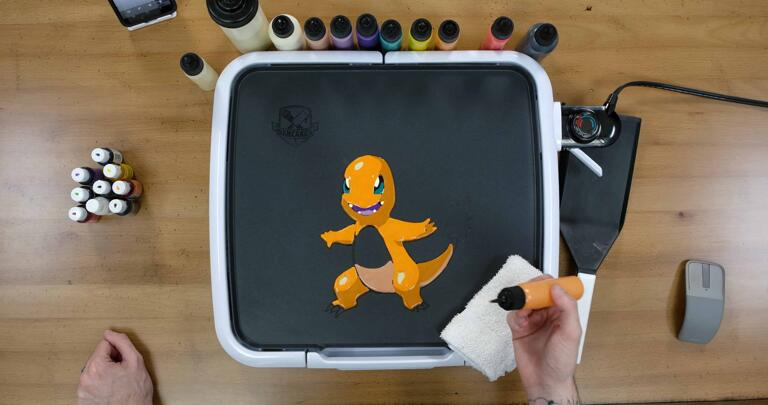 Charmander Pancake Art step 6.2: At this point, your pancake should look something like this. We're almost there!