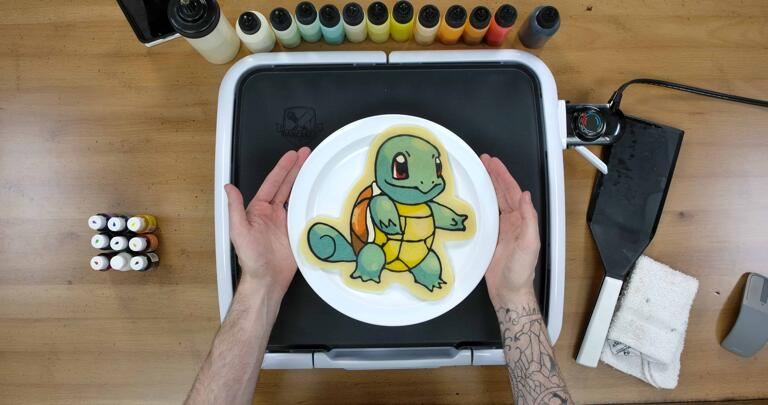 Squirtle Pancake Art final step: Plate your Squirtle pancake art, and enjoy! I wonder if this little one will be joining the Squirtle Squad? Gotta catch 'em all!