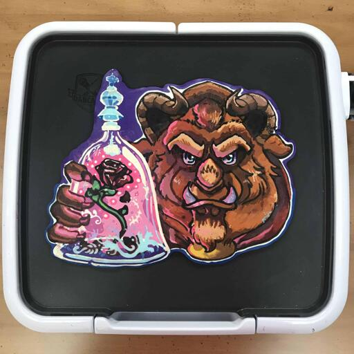 Beast with Rose Pancake Art on Griddle