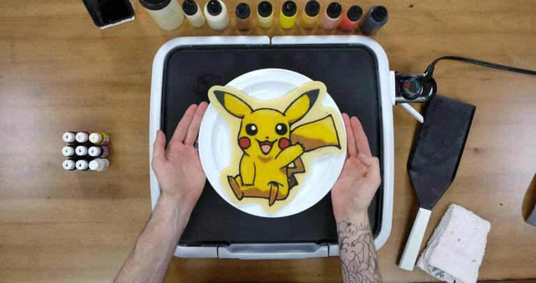 Pikachu Pancake Art final step: Plate your Pikachu Pancake and enjoy! This most famous pokemon makes for quite a tasty treat!