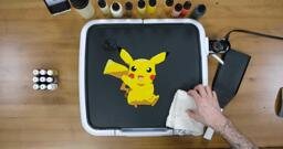Pikachu Pancake Art step 6.3: Once your Pikachu pancake is totally filled in, it will look something like this.