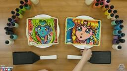 Dan and Dana's attempts at the Sailor Moon redraw challenge! Dan's pancake illustration is mostly on-model with Sailor Moon, but he used a blue, green and red color scheme that makes the character seem alien and exotic. Dana's pancake art of sailor moon uses a looser, charming style with bright, popping colors and bold lines and curves.