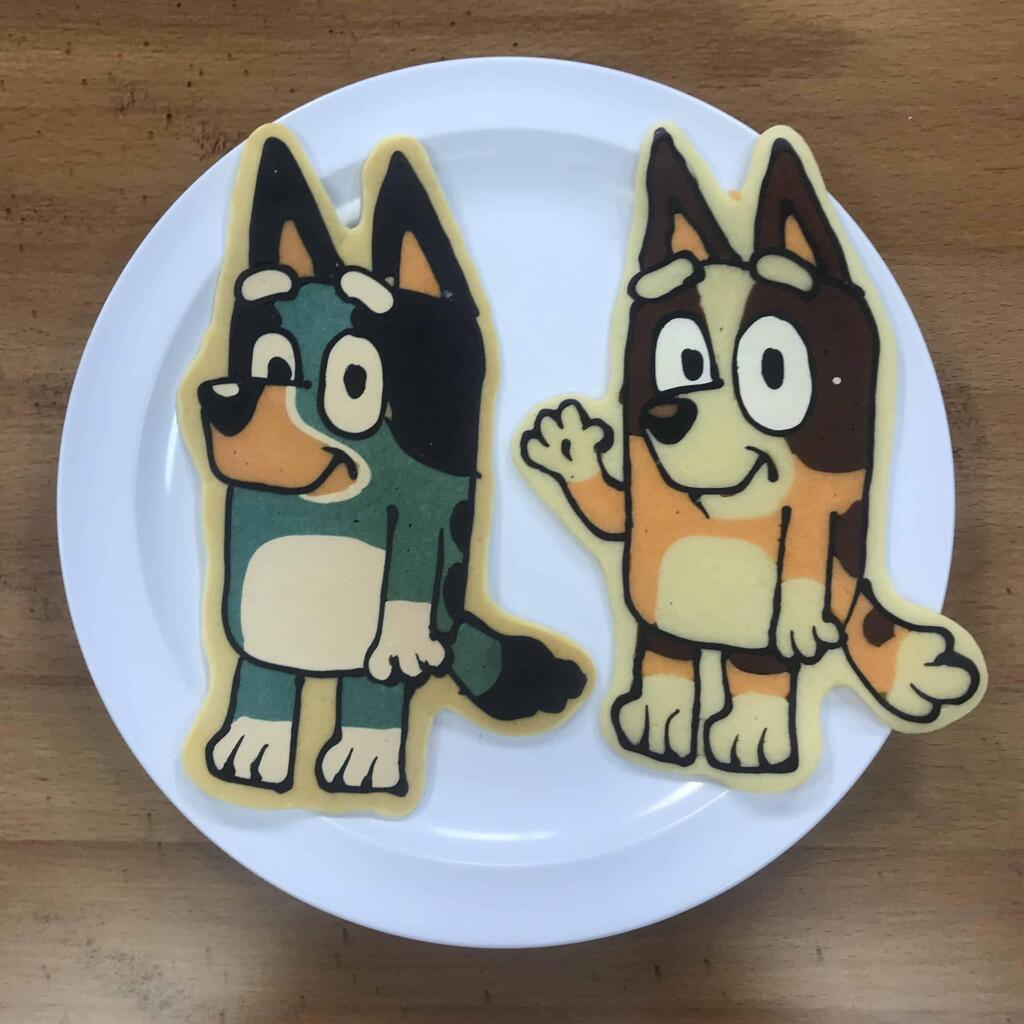 Bluey and Bingo pancake art