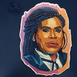 A portrait of the congressional candidate Cori Bush, in the medium of pancake art.