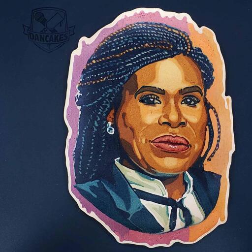 A portrait of the congressional candidate Cori Bush, in the medium of pancake art.