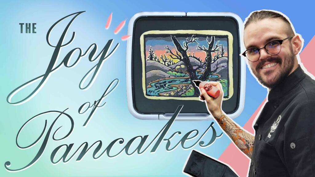 A graphic featuring the artist, Dan, faux-illustrating a beautiful piece of pancake art that depict a snowy landscape. The image reads