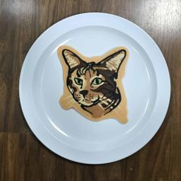 An image of a pancake drawn in the shape of a handsme cat