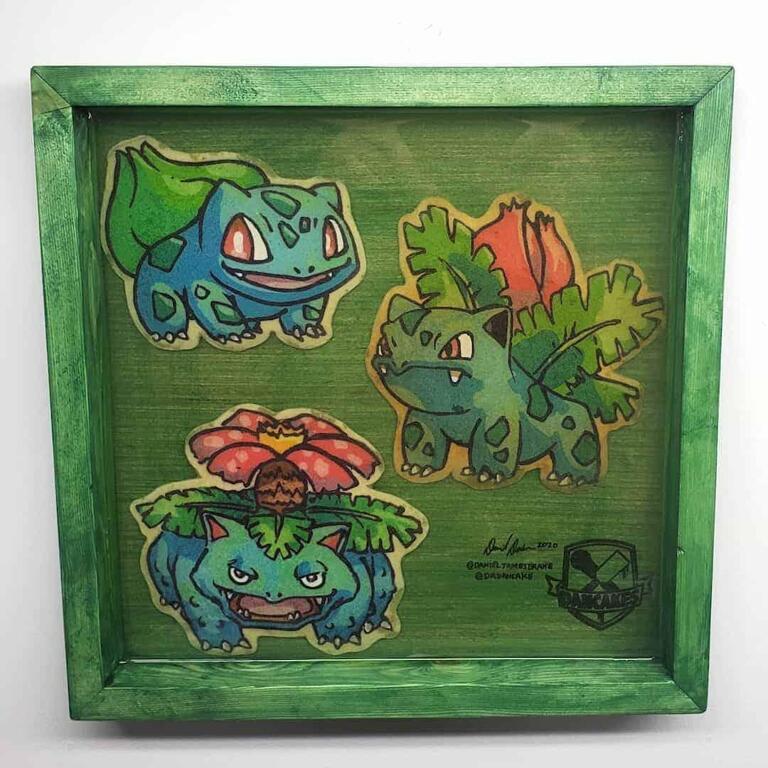 Pokemon Bulbasaur, Ivysaur, Venusaur Preserved Pancake Art