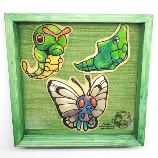 Pokemon Caterpie, Metapod, Butterfree Preserved Pancake Art