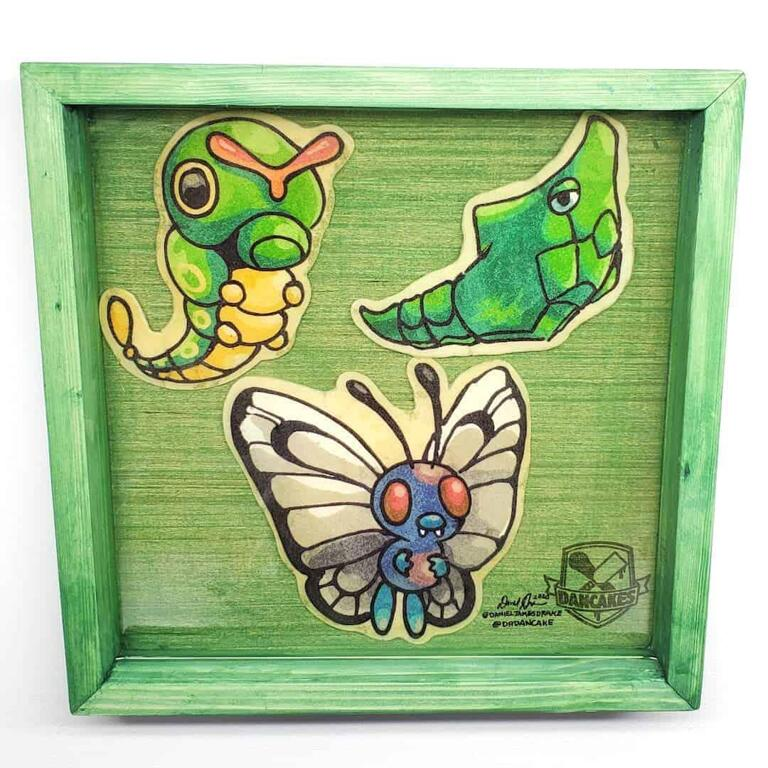 Pokemon Caterpie, Metapod, Butterfree Preserved Pancake Art