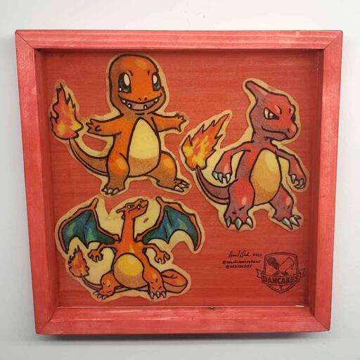 Pokemon Charmander, Charmeleon, Charizard Preserved Pancake Art