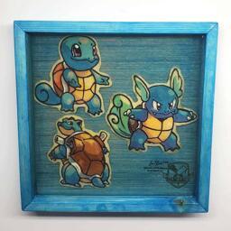 Pokemon Squirtle, Wartortle, Blastoise Preserved Pancake Art