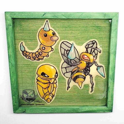 Pokemon Weedle, Kukuna, Beedrill Preserved Pancake Art