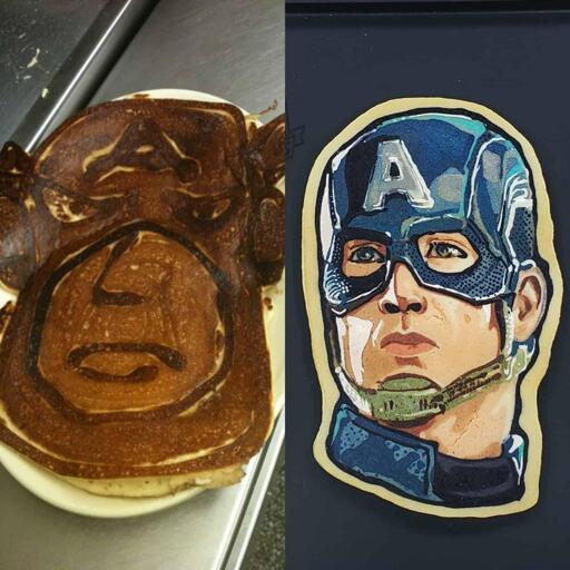 A side-by-side image of two pieces of pancake art. On the left, a large, cartoonish Captain America design has been crafted using browned and burned pancake batter lines to create contrast. The design is resting on a diner platter atop a stainless steel countertop. On the right side of the image, is a beautiful, full-color portrait of Captain America as portrayed by the actor Chris Evans. This design rests on a black background and has multiple shades of blues, grays, browns and red building up a lovely, semi-realistic rendition of the subject matter.