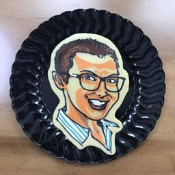 An image of a pancake art portrait of Dancakes artist Dana, as crafted by Dancakes artist Dan on the September 6th request livestream