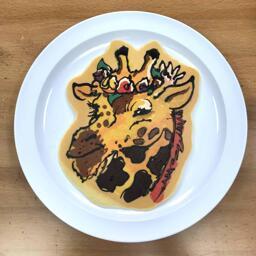 Pancake Art of a Giraffe with Flow Crown