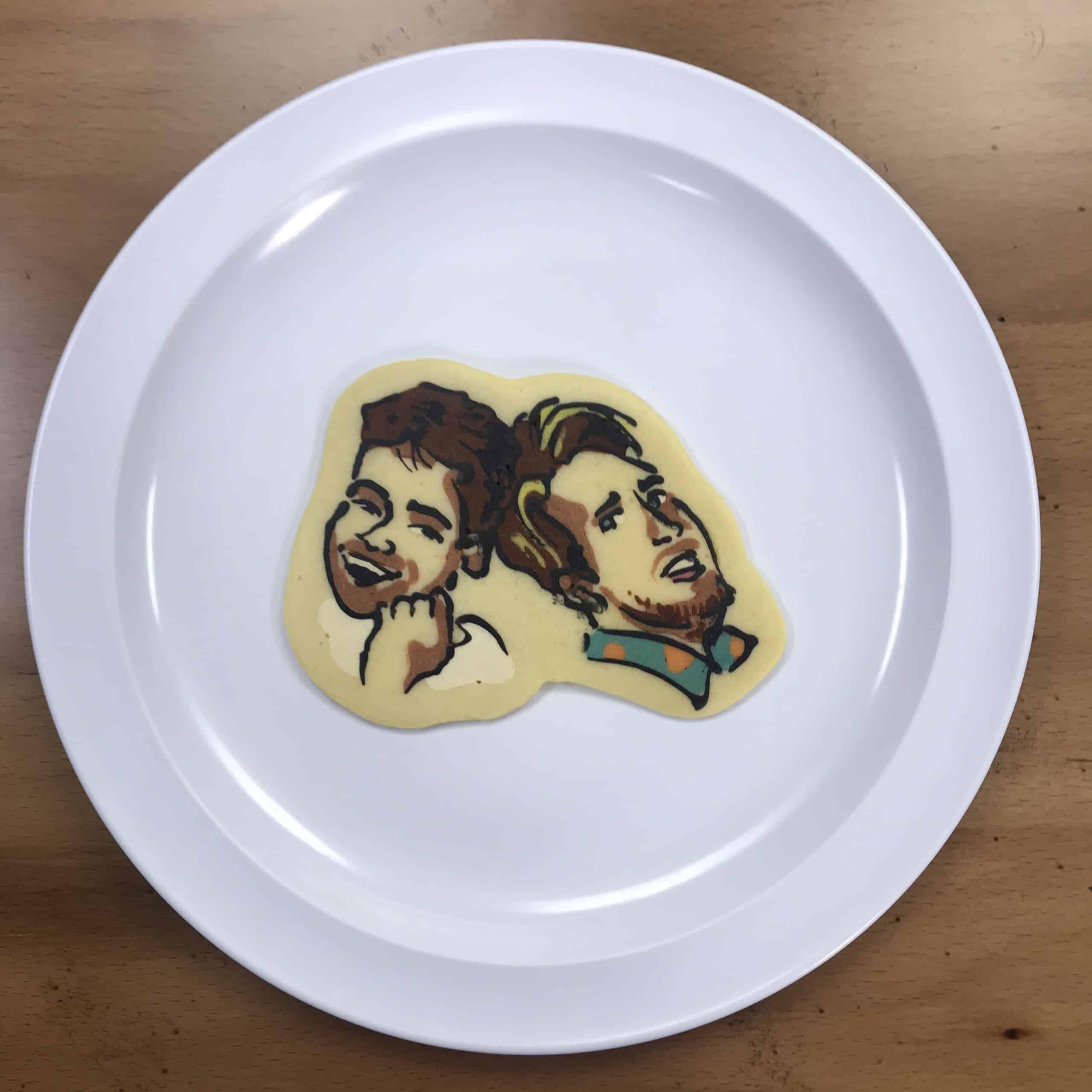 Pancake art of Ian and Shane from Smosh