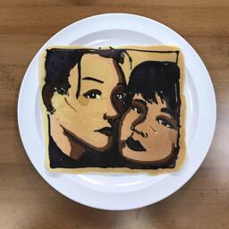 Pancake Art of Lovely Couple in Black Lipstick