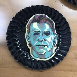 Pancake art of Michael Meyers from Halloween