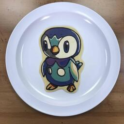 Pancake art of Piplup, the baby penguin pokemon from the pokemon franchise