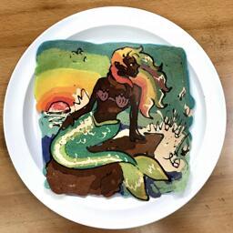 Pancake Art of a Rainbow Haired Mermaid
