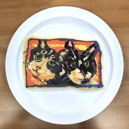Pancake Art of Two Cats - Figaro & Indiana