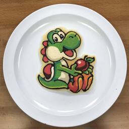 Pancake Art of Yoshi from Super Mario Bros