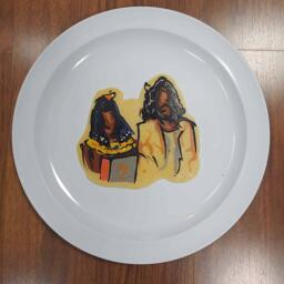 Pancake art of Cleopatra giving Jesus a George Foreman Grill