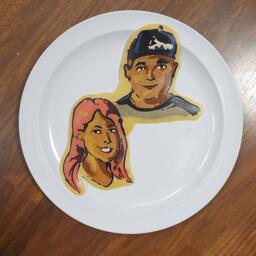 Pancake art of Everlee and her boyfriend