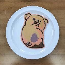 Pancake art of Waddles from Gravity Falls
