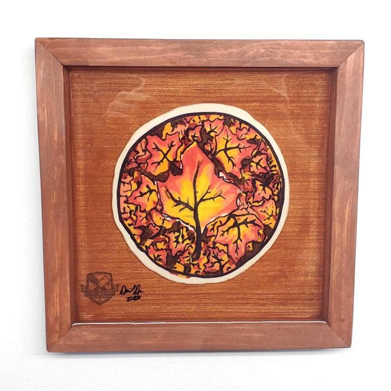 Fall Leaf Preserved Pancake Art
