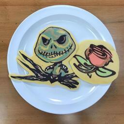 Jack Skellinton and A Rose Pancake Art