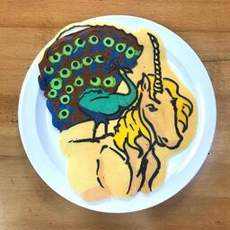 Peacock and Unicorn Pancake Art