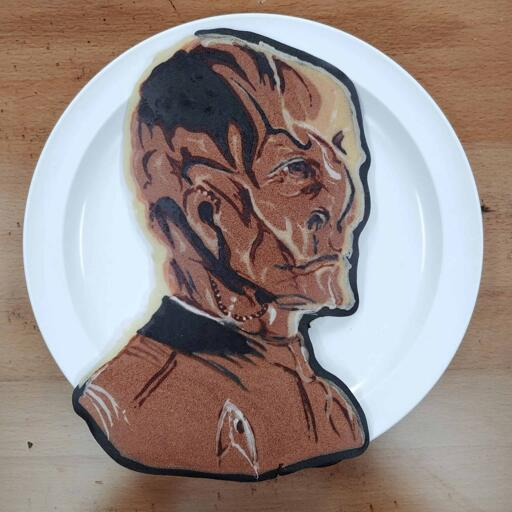 Pancake art of Kelpien - Saru from the TV show Star Trek Discovery