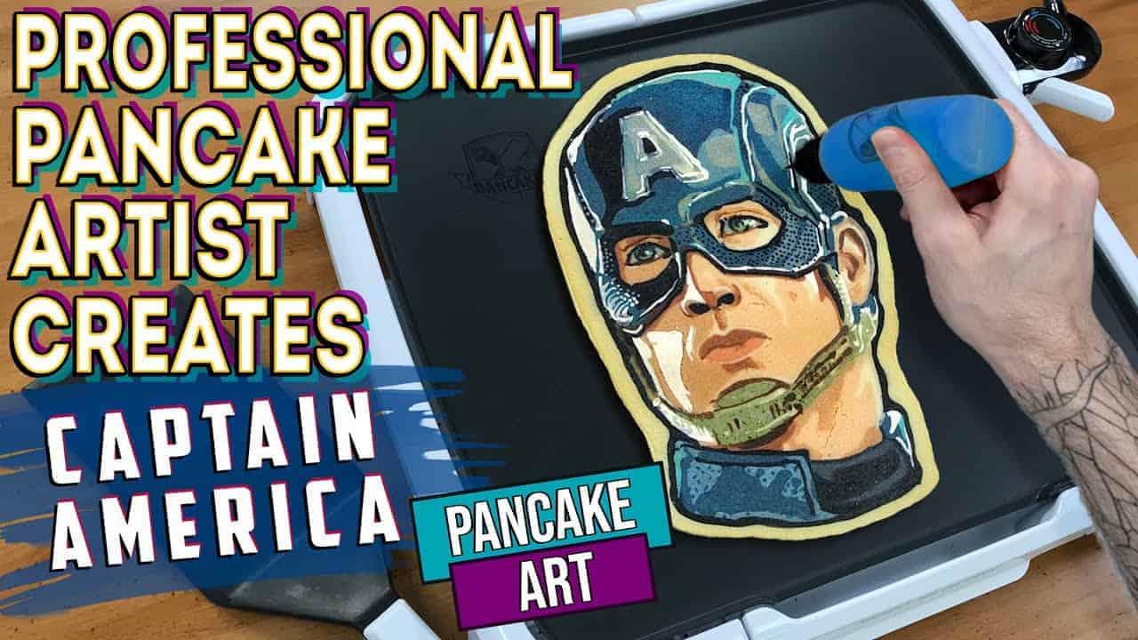Professional Pancake Artist Creates - Captain America Pancake Art